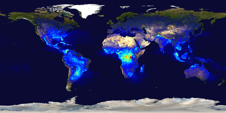 Central Africa receives the most flashes of lightning per square kilometer, while the polar regions receive the least