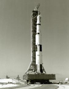 The Apollo 11 Saturn V on the crawler.