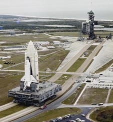 Space shuttle Columbia on the crawler.