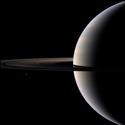 Target 1 of Cassini Scientist for a Day shows Saturn, a portion of its rings, and one of Saturn's moons