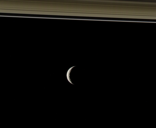 Target 2 of Cassini Scientist for a Day shows Tethys and a portion of Saturn's rings.