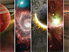 Collage of planets, stars and galaxies