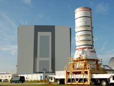 The Ares I-X aft assembly is moved to the Vehicle Assembly Building