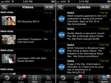 Screens from the NASA for iPhone app.