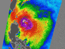 QuikScat noticed that Lupit's tropical storm-force winds extended as far as 135 miles from center of the storm.