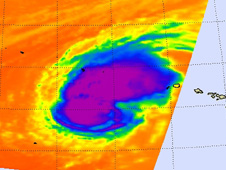 Infrared imagery revealed the deep convection in Neki's center and in the northeast quadrant of the storm.