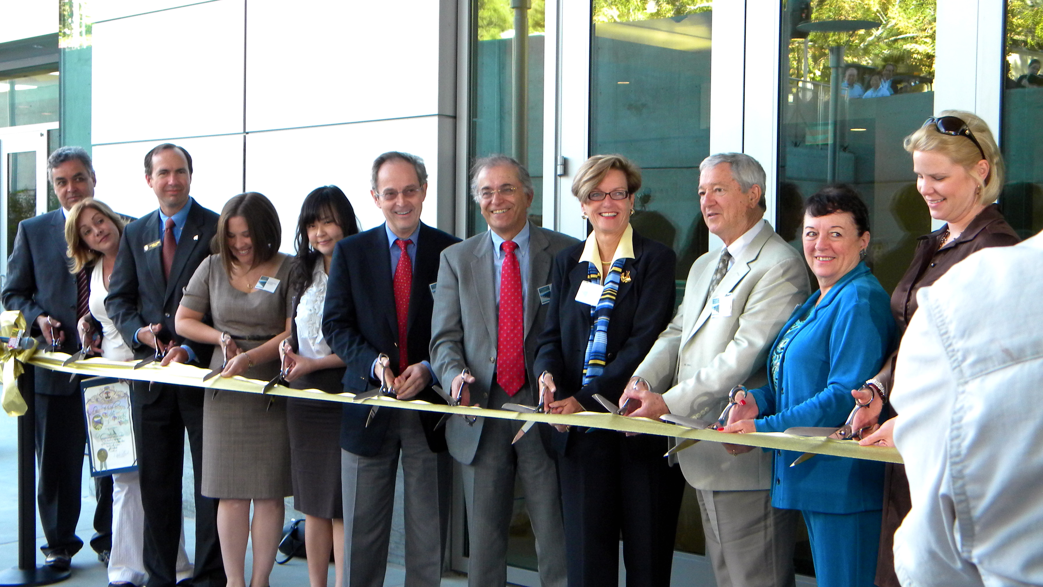 JPL Director Charles Elachi and other dignitaries cut the ribbon for JPL's new, environmentally friendly Flight Projects Center, which is NASA's greenest building to date