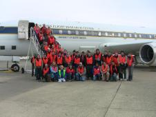Crew and researchers gathered in front of the DC-8 before an early morning flight on Oct. 24, to measure sea ice in the Weddell Sea.