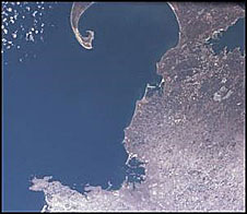 An image taken from space of part of Massachusetts coast
