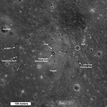 Region of Taurus Littrow valley around the Apollo 17 landing site. Credit: NASA/GSFC/Arizona State University