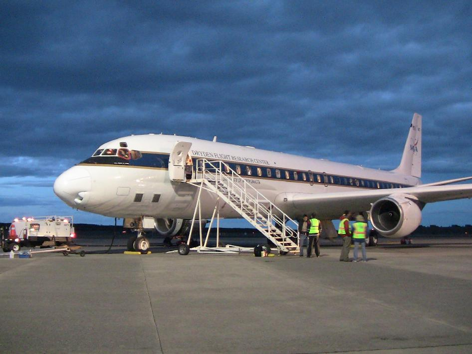 NASA's DC-8 after its return to Punta Arenas, Chile.