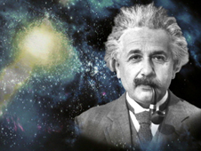 Composite graphic of Einstein and galaxy