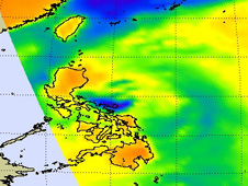 Cold areas (yellow-green) indicate precipitation or ice in the cloud tops.