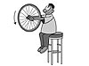 A cartoon boy holds a bicycle wheel