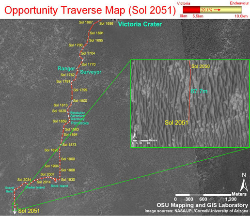 Opportunity traverse map (sol 2051)