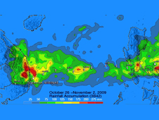 TRMM Precipitation Analysis showed Mirinae's rainfall from Oct. 26-Nov. 2 from the Philippines to landfall in Vietnam.