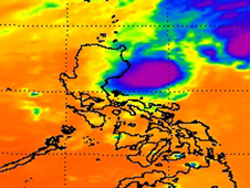 This infrared image of 97W from NASA's Aqua satellite on November 3 revealed weakening convection.