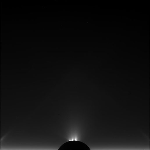 Unprocessed image of Enceladus taken during Cassini's Nov. 2, 2009, flyby