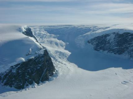 Many glaciers could be seen during the Operation Ice Bridge flight on Nov. 4, 2009.