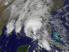 Hurricane Ida stretching from Florida's west coast, over the panhandle west to Louisiana.