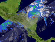 This image of Ida's rainfall was taken from the TRMM satellite on Nov. 6. The red circle indicates the location of Ida's center of circulation.