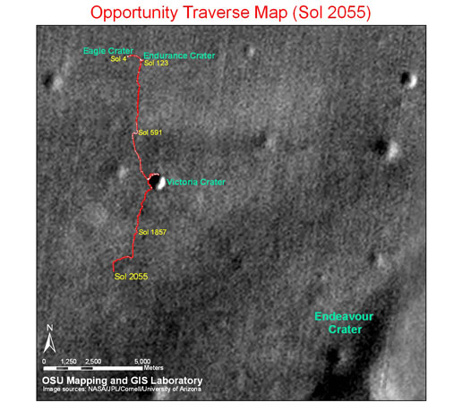 Opportunity's traverse map through sol 2055