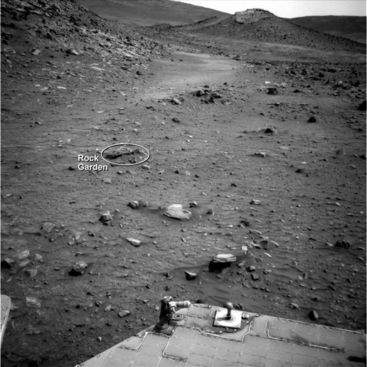 The cluster of rocks labeled a 'Rock Garden' in this image is where NASA's Mars Exploration Rover Spirit became embedded in April 2009.