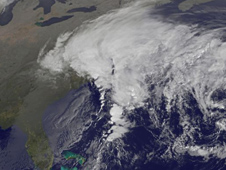 GOES-12 captured the extent of the Mid-Atlantic low's cloud cover stretching from North Carolina to Maine.