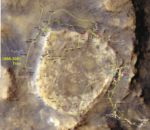 Spirit's traverse map through Sol 2081
