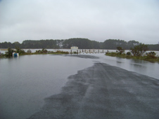 A flooded roadway at Parker's Creek Marsh on the sea side of Accomack County, Virginia.