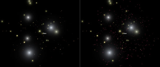 Simulated side-by-side images showing stars and brown dwarfs