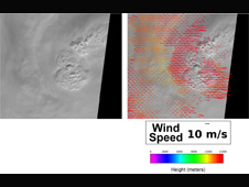 These MISR images show cloud detail around Ida's eye, which was covered by clouds.