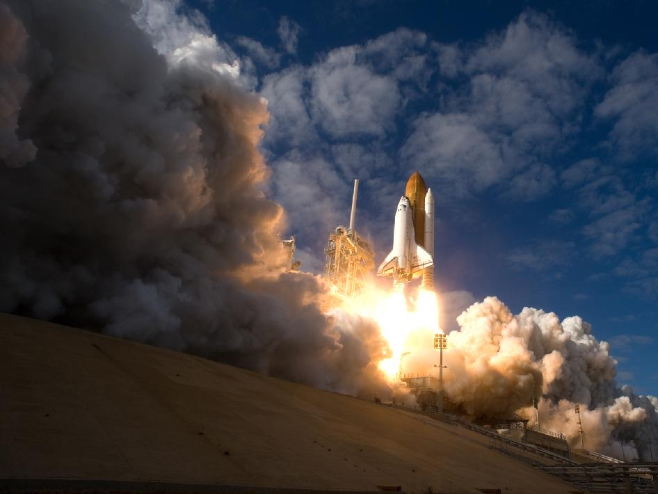 Space shuttle Atlantis launches on its STS-129 mission.