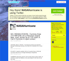 Screenshot of NASA's Hurricane Twitter page