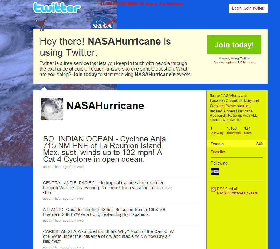 Image of the Twitter/NASAHurricane page