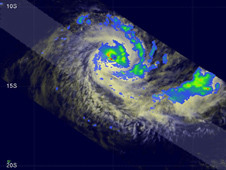 ANJA had a well defined eye and was increasing in strength from a category 2 to 3 tropical cyclone.