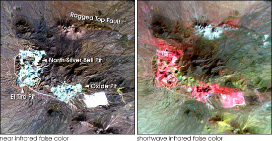 ASTER copper mine images (visible and near-infrared)