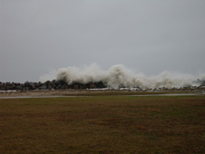Waves crashing at NASA's Wallops Island Facility.
