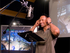 Dwayne Johnson recording the voice of Chuck Baker in Columbia Pictures animated movie Planet 51. Image Courtesy of Sony Pictures.