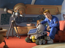 Rover with Chuck Baker, voiced by Dwayne Johnson, in Columbia Pictures animated movie Planet 51. Image Courtesy of Sony Pictures.