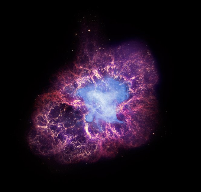 La foto ai raggi-x della Nebuolsa del Granchio, si vede l'energia emessa dalla pulsar