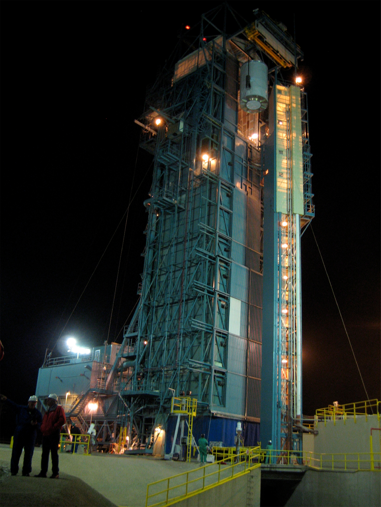 NASA's Wide-field Infrared Survey Explorer, or Wise, is seen here being hoisted to the top of its United Launch Alliance Detla II rocket at Vandenberg Air Force Base