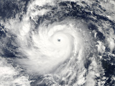 Super Typhoon Nida with a perfectly symmetrical storm and a clear eye, both hallmarks of a powerful typhoon.