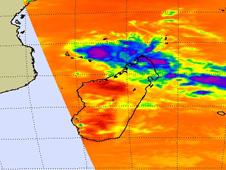 NASA's Aqua satellite captured cold thunderstorm cloud tops of Bongani in this infrared image of Nov. 25.