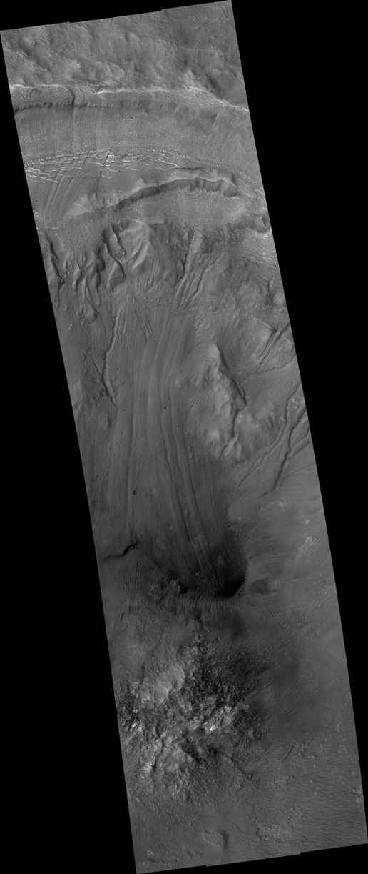 Gullies and flow Features on crater wall on Mars
