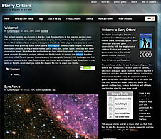Screenshot of the Starry Critters Web site