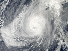 Typhoon Nida on November 30 shows the eye is now cloud-filled, one sign of a weakening storm.