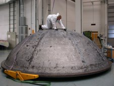 Spherical tank dome combines friction stir welding and spun formation.