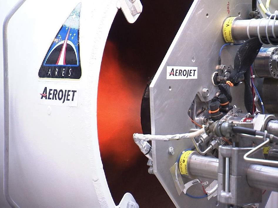 Hot fire testing for the first of two prototype Ares I roll control thrusters
