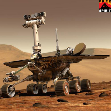 An artist's concept of a NASA Mars Exploration Rover on Mars